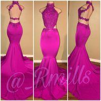 fuchsia berühmtheit kleider großhandel-Fuchsia Backless Prom Celebrity Kleider 2018 Neckholder Mermaid Perlen Lange 2K18 Abendkleider Party Wear