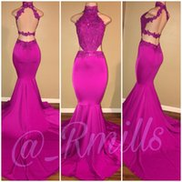 Wholesale Halter Red Lace Dress Celebrity - Fuchsia Backless Prom Celebrity Dresses 2018 Halter Neck Mermaid Beads Long 2K18 Evening Gowns Party Wear