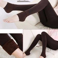 Wholesale thermal leggings wholesale - 1 Pair Hot Sale Fashion Winter New Womens Solid Thick Hosiery Warm Fleece Lined Thermal Stretchy Trousers Leggings Pants