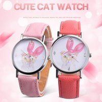 Wholesale Cat Ear Glasses - Fashion lovely cat rabbit ear printing leather watches 2018 new kids children girls students casual party gift quartz watches