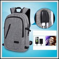 Wholesale anti theft laptop online - Laptop Anti theft Backpack With USB Charging Headphone Interface School Bag Unisex Anti theft Lock Laptop Shoulder Bag CCA9949