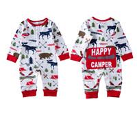 bebek ayı romper toptan satış-Noel Kız bebekler Boy Giyim Pijama Kıyafet Yenidoğan Çocuk Bodysuit Çizgili Romper Ayı Ren Geyiği Kış Toptan Yılbaşı Bebek Giyim 0-18M