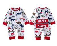 12m baby-pyjama großhandel-Weihnachten Baby Mädchen Jungen Kleidung Pyjamas Outfit Neugeborenen Kinder Body Gestreiften Strampler Bär Rentier Winter Großhandel Weihnachten Baby Kleidung 0-18M