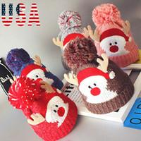 bebek yün başlık örme toptan satış-Yılbaşı Şapkaları Çocuklar Bebekler Kış Sıcak Tığ Örgü Şapka Ile Venonat Beanie Cap Sıcak Örgü Yün İplik Bebek Noel Şapka