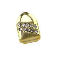 dientes de diamante de cristal al por mayor-Best Selling Body Jewelry Oro Dientes Dientes Cristal Diamante Parrillas Dentales Hip-hop Accesorios Accesorios Dientes Joyería Corporal