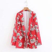 uzun batı ceketi toptan satış-Batı Moda Çiçek Açık Dikiş Hırka Gevşek Giyim Tops 2018 Yeni Uzun Kollu Zarif Yaka Kimono Kadın Ceket Hisper