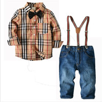 ingrosso jeans per bambini ragazzi-Nuovi vestiti per bambini Abiti Camicia americana europea per ragazzi Jeans Pantaloni Outfit Set di vestiti per bambini 2-7T