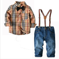 çocuk kot pantolon toptan satış-Yeni Çocuk Giyim Takım Elbise çocuğun Avrupa Amerikan Gömlek Kot Pantolon Kıyafet Giyim Setleri fit Çocuklar 2-7 T