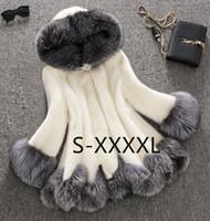 Wholesale mink fur capes - Starlist Winter Luxury Faux Fox Fur Female Cloak Hooded Coat Faux Mink Fur Coat Bride Wedding Cape Flare Sleeve Outwear