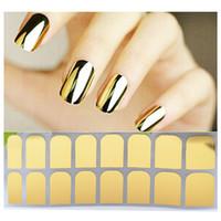 espelhos de etiqueta de ouro venda por atacado-1 Folha de Ouro de Prata Preto Liso Metal Nail Sticker Patch Folhas Armadura Adesiva Wraps Completa Espelho Manicure Decorações Da Arte Do Prego