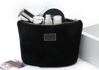 kadife debriyajlar toptan satış-Moda marka kadife kozmetik durumda lüks makyaj organizatör çantası güzellik tuvalet çanta debriyaj makyaj çantası tote butik VIP hediye toptan