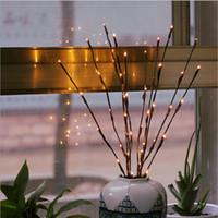 navidad lámpara batería cálido blanco al por mayor-Blanco cálido 20LEDS llevó la luz del árbol con pilas de hadas de Navidad cadena flexible decoración de la boda lámpara de mesa interior Luminarias luz de la noche