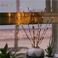pil ağacı ışıkları toptan satış-Sıcak Beyaz 20 LEDS Led Ağacı Işık Akülü Noel Peri Esnek Dize Düğün Dekorasyon Kapalı Masa Lambası Luminarias Gece Işık