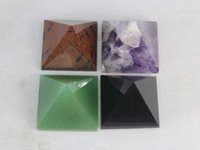 Wholesale Crystal Pyramids - 4 pcs NATURAL amethysts obsidian aventurine Red obsidian QUARTZ CRYSTAL pyramid Healing point natural stones minerals for fengshui decration