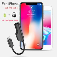 Wholesale Music Splitter - 2 in 1 Dual Charge & 3.5mm Earphone Headphone Audio Splitter Adapter Compatible for iPhone IOS 10 11 Support Music Charge Sync