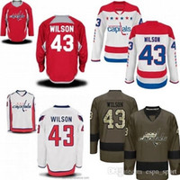 Wholesale cheap hockey jerseys washington - Hot Sale Mens Washington Capitals 43 Tom Wilson Red White Green Best Quality Cheap 100% Embroidery Logo Ice Hockey Jerseys Accept Mix Order