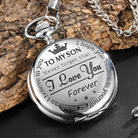 To My Son Best Gifts I Love You Son Girls Boys Present Silver Steampunk Pocket Watch With FOB Chain For Necklace Pendant Watches