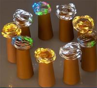 akü askısı hafif bakır toptan satış-Şarap şişesi kapağı pil kutusu ışık dize 1 metre 10 lamba bakır gümüş su geçirmez renk tatil dekorasyon dize ışıkları