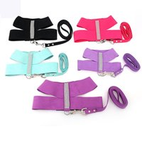Wholesale Large Purple Rhinestones - New Fashion Bling Rhinestone Dog Harness Vest S M L Black Blue Rose Purple Suede Super Fiber Soft Pet Dog Harness for Dogs