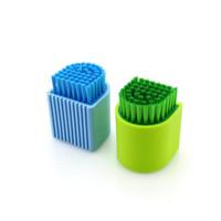 ingrosso pennello utilizza set-10 pezzi / set in plastica multiuso uso domestico pennello in silicone vestiti lavanderia scarpe pennello in silicone spazzola di pulizia mini lavastoviglie