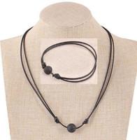 ingrosso set nero del braccialetto della collana del branello-Collana di gioielli fatti a mano in pietre laviche rotonde collana di perline gioielli aromaterapia collane di olio essenziale diffusore naturale per le donne
