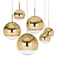 ingrosso lampada a sfera in vetro-Lampada a sospensione a forma di specchio Lampada da pranzo a sospensione in vetro Lampada da comodino in vetro postmoderno minimalista in stile caffè nordico. Lampada a sospensione
