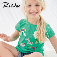 Wholesale Plus Size Christmas Shirts - Richu plus size t shirt dress baby t shirts for girls t-shirt kids classic 100% cotton animal solid 18 months 2 3 4 5 6 years wholesale