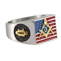 anéis maçônicos americanos venda por atacado-Mens Aço Inoxidável 18 K Banhado A Ouro Colorido Epóxi Bandeira Americana Anéis Maçonaria Maçônica Logotipo Gravado