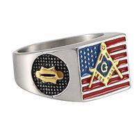 amerikanische freimaurerringe großhandel-Mens Edelstahl 18K Gold plattiert bunte Epoxy-amerikanische Flagge Ringe Freimaurerei Freimaurer Logo graviert