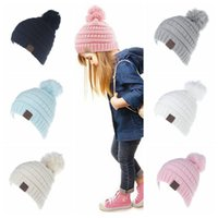 Wholesale Winter Knitted Pom Hat Wholesale - 6 Colors Kids CC Pom Poms Beanie Trendy Knitted Chunky Skull Caps Winter Cable Slouchy Crochet Hats Outdoor Oversized Hats CCA8547 60pcs