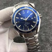pulseiras de safira azuis venda por atacado-A-2813 pulseira de couro mecânicos dos homens de luxo mens profissional 300 mt james bond 007 azul dial safira relógio automático dos homens wat