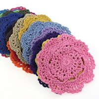 Wholesale vintage crochet table mats - Round Table Mat Vintage DIY Handmade 10cm Crochet Coasters Zakka Doilies Cup Pad Props Multi Color