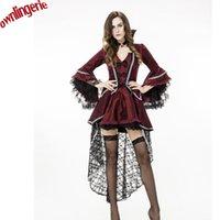 soylu nakış toptan satış-Muhteşem Nakış ve Leke Yeni Cadılar Bayramı Cosplay Dans Vampir Giyim Bordo Vampir Rol oynamak Asil Kostüm ÜCRETSIZ KARGO