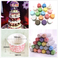 papillon coupe des gâteaux achat en gros de-Environnement chaud Rayures colorées Dot papier gâteaux gobelets tasse de cuisson doublures moule gâteau décoration Cupcake 100 PCS / lot