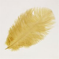 Wholesale Plumage Feathers - 14 -16inch  35 -40cm Ostrich Feather Gold Color Fluffy Ostrich Plumage Jewelry Accessories Wedding Decoration Diy Costumes Headwear