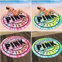use una toalla comprimida al por mayor-Nueva Microfibra Rosa Toalla de Playa Redonda 160 cm Suave Secado rápido Baño de Natación Toallas Deportivas Manta Picnic Toalla I286