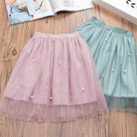 Wholesale cute korean fashion clothes - Everweekend Girls Beading Tulle Ruffles Skirt Cute Baby Pink and Green Color Clothes Princess Korean Fashion Spring Autumn Skirt