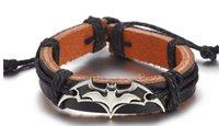 batman hediye gönderimi toptan satış-Sıcak Satış Hollywood Film Film Batman Deri Bilezik Moda Metal Toka Bilezik Bileklik Takı Tatil Hediye Ücretsiz Kargo