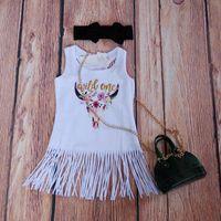 vestido de flecos boho al por mayor-Boho Bebé Bull Dress Fringe vestidos de las muchachas del brillo del oro Wild One borlas vestidos para bebés blanca de la franja de vestir ropa de las muchachas con encanto