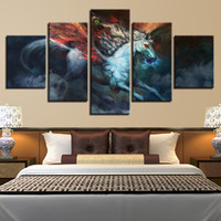 Wholesale horse art paintings piece resale online - Modern Canvas Picture HD Print Wall Art Frame Pieces Abstract Animal Flying White Horse Living Room Home Decor Painting Poster