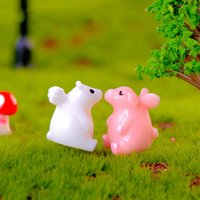 ingrosso ali del giardino-Buonanotte Angelo Mini Animale con ali Elefante Maiale Polar Bear Resina Artigianato Ciondolo Miniature per Terrario Fata Decorazione del giardino