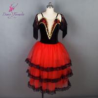 samt mieder großhandel-Neu! Spanischen Stil Schwarz Velvet Bodice Red Tüll Mädchen Ballett Kleid für Frauen Performance Ballett Kostüme für Ballerina 19023