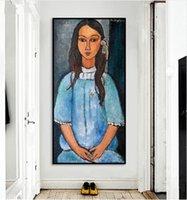pintura al óleo retrato de las niñas al por mayor-Alice por al óleo del arte del retrato de Amedeo Modigliani Cruz Chica pintado a mano de pintura clásica Wall Art Deco casero En Canvas.Multi tamaños P376