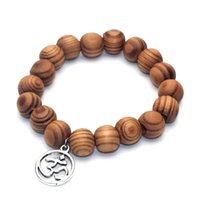 деревянный лотос оптовых-12MM  Yoga Inspired Bamboo Wood Mala Bracelet Buddha Hamsa Hand Wish Bone Lotus Charm Bracelet