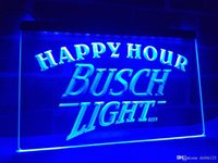 enseignes de bière néon busch achat en gros de-LA620b- Busch Light Beer Happy Hour Bar LED Neon Light