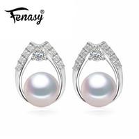 perlen perlen ohrringe großhandel-FENASY Natural Pearl Ohrringe Frauen, Süßwasserperlen, Marke Ohrstecker 2018 neu, schwarz und Edelstein