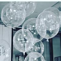globo claro de la boda al por mayor-50 unids No Winkles Globos de PVC Transparente 10/18/24 pulgadas Clear Bubble Helium Globos Fiesta de Cumpleaños de Boda Decoración Helium Balaos Kid Juguetes Bola