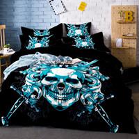 skull bedding оптовых-3D печатных черепа Комплект постельных принадлежностей King Size Sugar Skull Print Duvet Cover Комплект с подушкой AU Queen Bed Лучший подарок Bedline