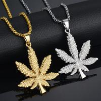 gold silber töpfe großhandel-8 Karat vergoldet Iced Out Leaf Pot Diamant Anhänger Halskette Schlangenkette