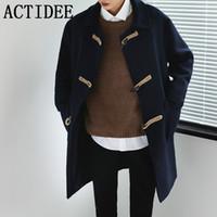 ingrosso uomini del tromba del cappotto-All'ingrosso- Corea del sud Moda Horn Button Trench Coat Uomo Cappotto classico Maschio Plus Size 3XL No.13.F203P115.01